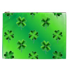 Shamrock Green Pattern Design Cosmetic Bag (xxl)