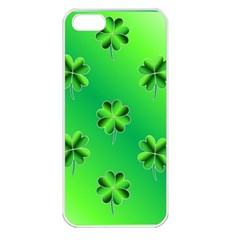 Shamrock Green Pattern Design Apple Iphone 5 Seamless Case (white) by Simbadda