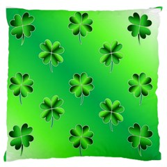 Shamrock Green Pattern Design Large Flano Cushion Case (one Side) by Simbadda
