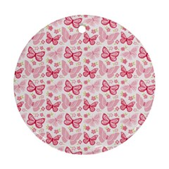 Cute Pink Flowers And Butterflies Pattern  Ornament (round) by TastefulDesigns