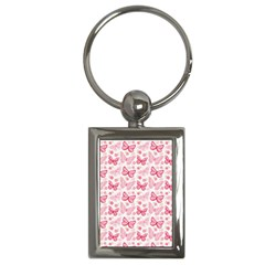Cute Pink Flowers And Butterflies Pattern  Key Chains (rectangle)  by TastefulDesigns