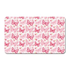 Cute Pink Flowers And Butterflies Pattern  Magnet (rectangular) by TastefulDesigns