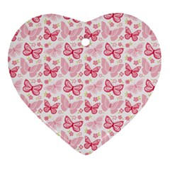 Cute Pink Flowers And Butterflies Pattern  Heart Ornament (two Sides) by TastefulDesigns