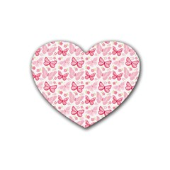 Cute Pink Flowers And Butterflies Pattern  Heart Coaster (4 Pack)  by TastefulDesigns
