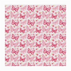 Cute Pink Flowers And Butterflies Pattern  Medium Glasses Cloth (2 Side) by TastefulDesigns
