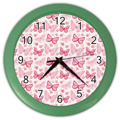 Cute Pink Flowers And Butterflies Pattern  Color Wall Clocks