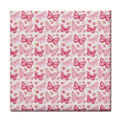 Cute Pink Flowers And Butterflies Pattern  Face Towel by TastefulDesigns