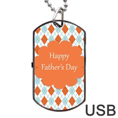 Happy Father Day  Dog Tag Usb Flash (two Sides) by Simbadda
