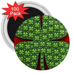 Shamrock Irish Ireland Clover Day 3  Magnets (100 Pack) by Simbadda