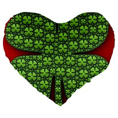 Shamrock Irish Ireland Clover Day Large 19  Premium Heart Shape Cushions by Simbadda