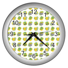 St Patrick S Day Background Symbols Wall Clocks (silver)  by Simbadda