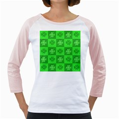 Fabric Shamrocks Clovers Girly Raglans