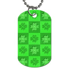 Fabric Shamrocks Clovers Dog Tag (one Side) by Simbadda