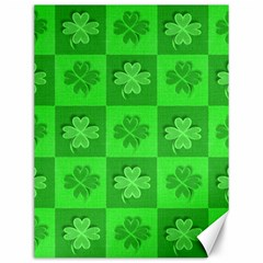 Fabric Shamrocks Clovers Canvas 12  X 16   by Simbadda