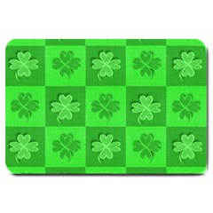 Fabric Shamrocks Clovers Large Doormat  by Simbadda
