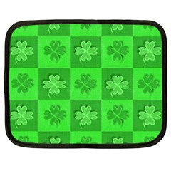 Fabric Shamrocks Clovers Netbook Case (xl)  by Simbadda