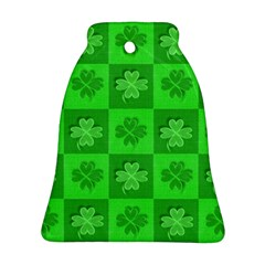 Fabric Shamrocks Clovers Bell Ornament (two Sides) by Simbadda