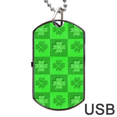 Fabric Shamrocks Clovers Dog Tag Usb Flash (two Sides) by Simbadda