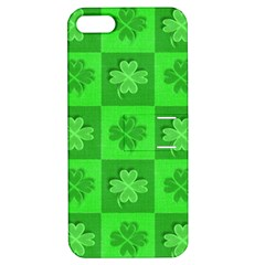 Fabric Shamrocks Clovers Apple Iphone 5 Hardshell Case With Stand by Simbadda
