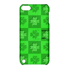 Fabric Shamrocks Clovers Apple Ipod Touch 5 Hardshell Case With Stand by Simbadda