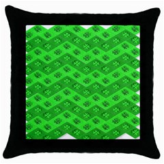 Shamrocks 3d Fabric 4 Leaf Clover Throw Pillow Case (black) by Simbadda