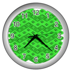 Shamrocks 3d Fabric 4 Leaf Clover Wall Clocks (silver)  by Simbadda