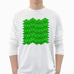 Shamrocks 3d Fabric 4 Leaf Clover White Long Sleeve T Shirts by Simbadda