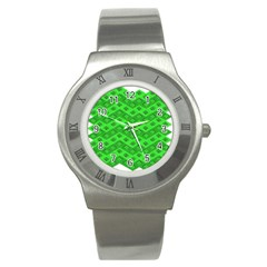 Shamrocks 3d Fabric 4 Leaf Clover Stainless Steel Watch by Simbadda