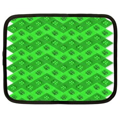 Shamrocks 3d Fabric 4 Leaf Clover Netbook Case (xl)  by Simbadda