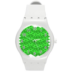 Shamrocks 3d Fabric 4 Leaf Clover Round Plastic Sport Watch (m) by Simbadda