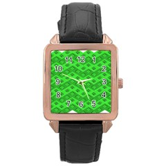 Shamrocks 3d Fabric 4 Leaf Clover Rose Gold Leather Watch  by Simbadda