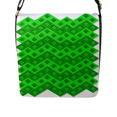 Shamrocks 3d Fabric 4 Leaf Clover Flap Messenger Bag (l)