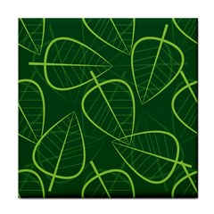 Vector Seamless Green Leaf Pattern Tile Coasters by Simbadda