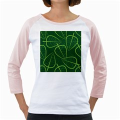 Vector Seamless Green Leaf Pattern Girly Raglans