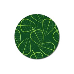 Vector Seamless Green Leaf Pattern Magnet 3  (round) by Simbadda