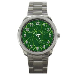 Vector Seamless Green Leaf Pattern Sport Metal Watch by Simbadda