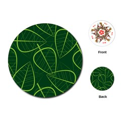Vector Seamless Green Leaf Pattern Playing Cards (round)  by Simbadda
