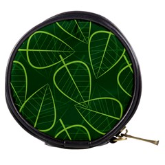 Vector Seamless Green Leaf Pattern Mini Makeup Bags
