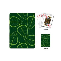 Vector Seamless Green Leaf Pattern Playing Cards (mini)  by Simbadda