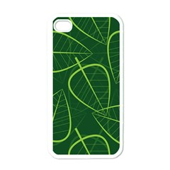 Vector Seamless Green Leaf Pattern Apple Iphone 4 Case (white)