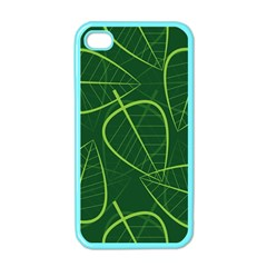 Vector Seamless Green Leaf Pattern Apple Iphone 4 Case (color) by Simbadda