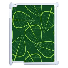 Vector Seamless Green Leaf Pattern Apple Ipad 2 Case (white) by Simbadda