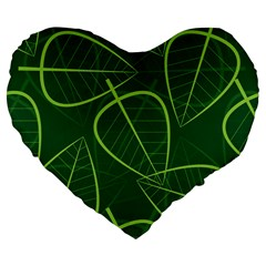 Vector Seamless Green Leaf Pattern Large 19  Premium Heart Shape Cushions by Simbadda