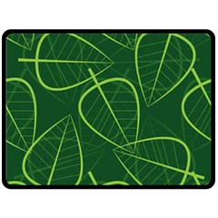 Vector Seamless Green Leaf Pattern Double Sided Fleece Blanket (large)  by Simbadda