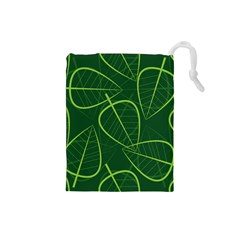 Vector Seamless Green Leaf Pattern Drawstring Pouches (small)