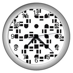 Black And White Pattern Wall Clocks (silver)  by Simbadda