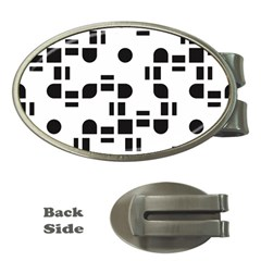 Black And White Pattern Money Clips (oval)  by Simbadda