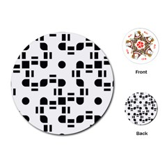 Black And White Pattern Playing Cards (round)  by Simbadda