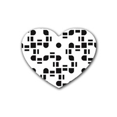 Black And White Pattern Rubber Coaster (heart)  by Simbadda