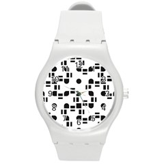 Black And White Pattern Round Plastic Sport Watch (m) by Simbadda